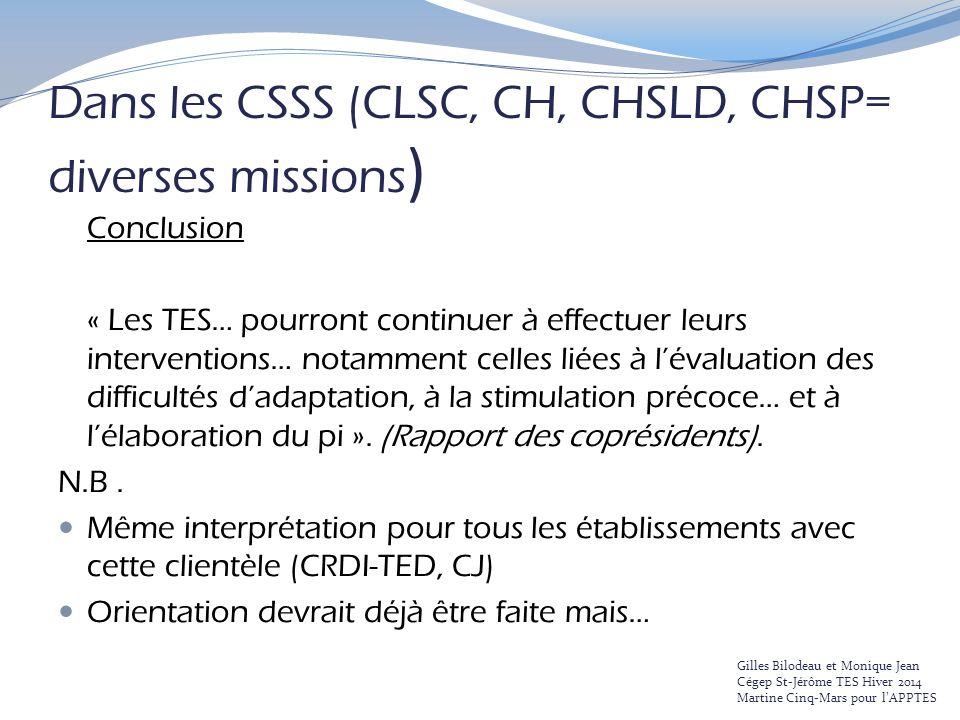 Dans les CSSS (CLSC, CH, CHSLD, CHSP= diverses missions)