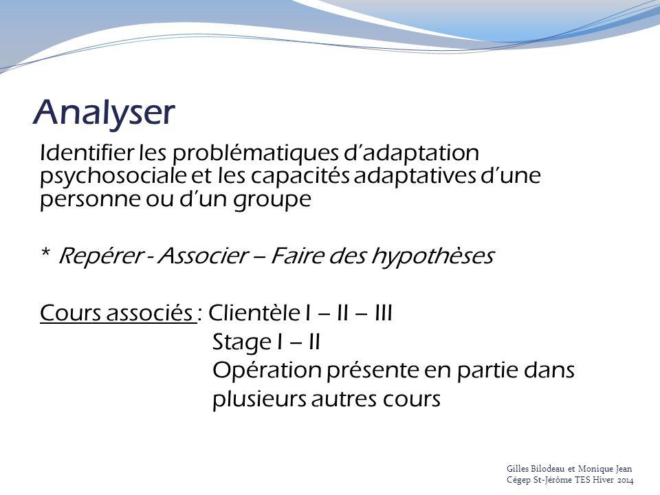 Analyser Identifier les problématiques d'adaptation psychosociale et les capacités adaptatives d'une personne ou d'un groupe.