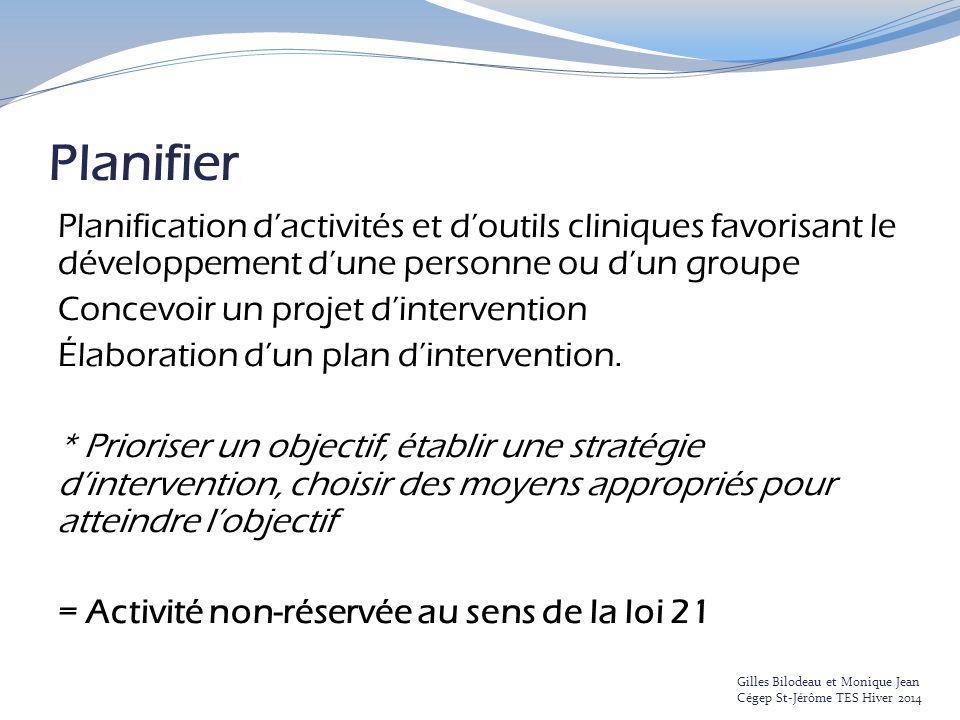Planifier Planification d'activités et d'outils cliniques favorisant le développement d'une personne ou d'un groupe.