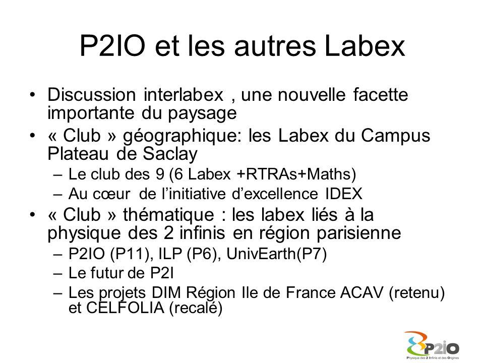 P2IO et les autres Labex Discussion interlabex , une nouvelle facette importante du paysage.
