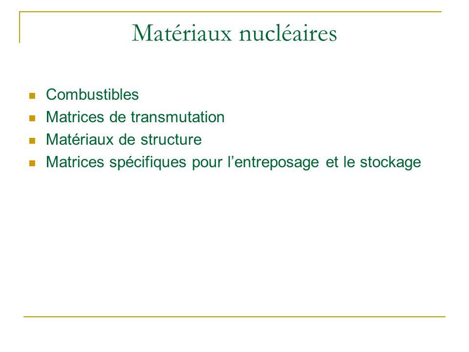 Matériaux nucléaires Combustibles Matrices de transmutation