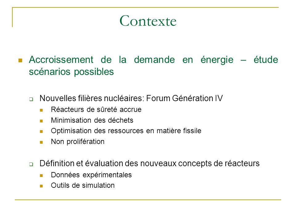 Contexte Accroissement de la demande en énergie – étude scénarios possibles. Nouvelles filières nucléaires: Forum Génération IV.