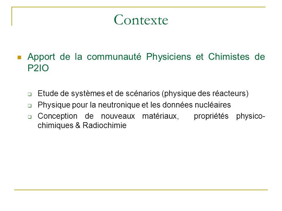 Contexte Apport de la communauté Physiciens et Chimistes de P2IO