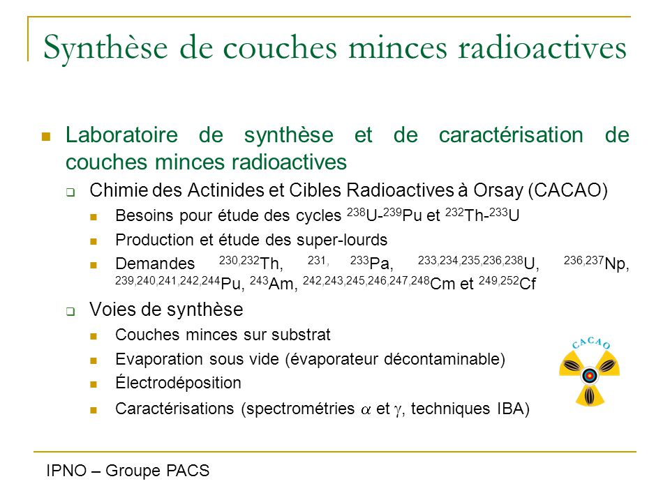 Synthèse de couches minces radioactives