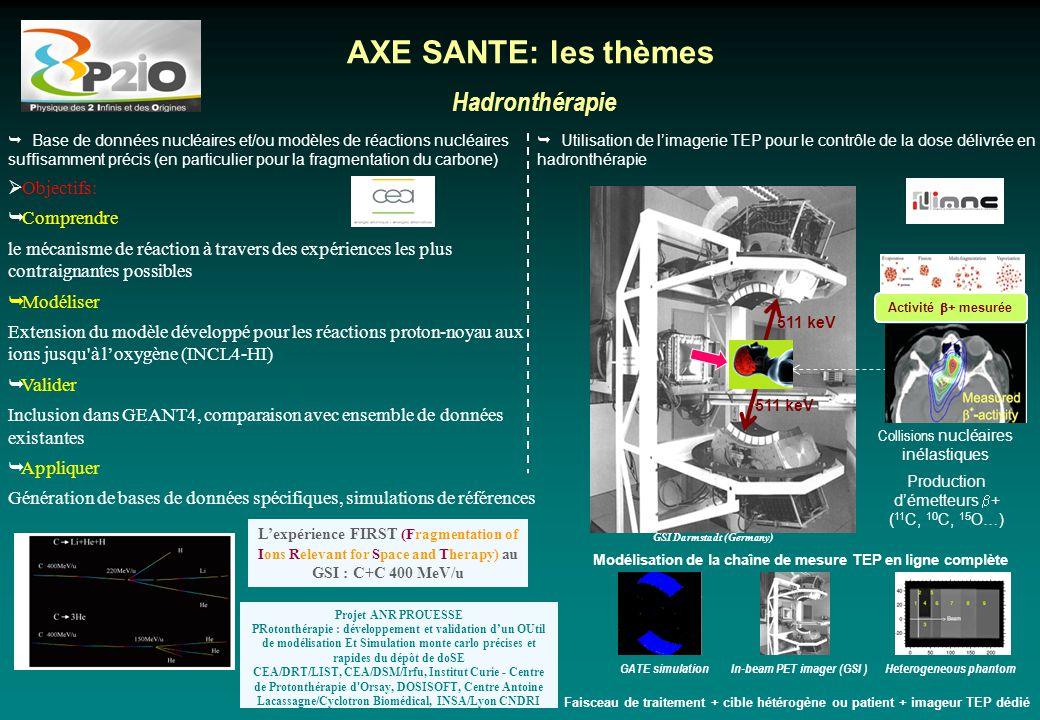AXE SANTE: les thèmes Hadronthérapie Objectifs: Comprendre