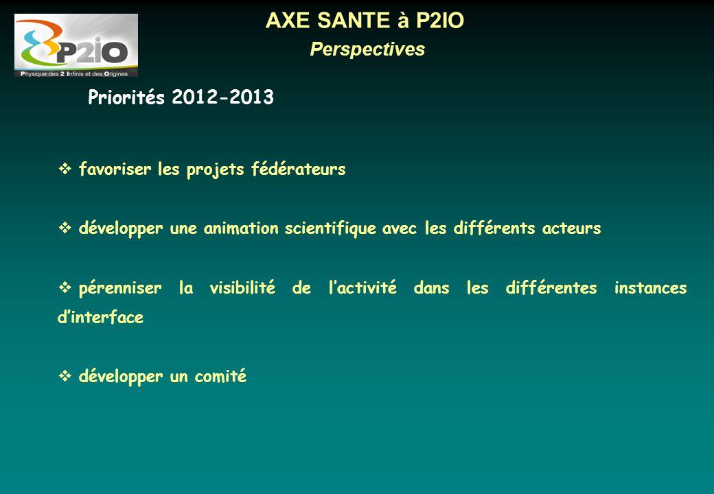 AXE SANTE à P2IO Perspectives Priorités 2012-2013