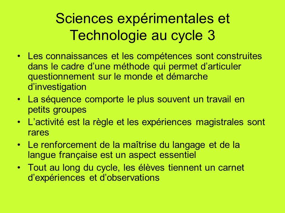 Sciences expérimentales et Technologie au cycle 3