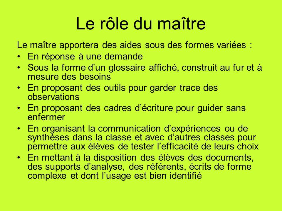 Le rôle du maître Le maître apportera des aides sous des formes variées : En réponse à une demande.