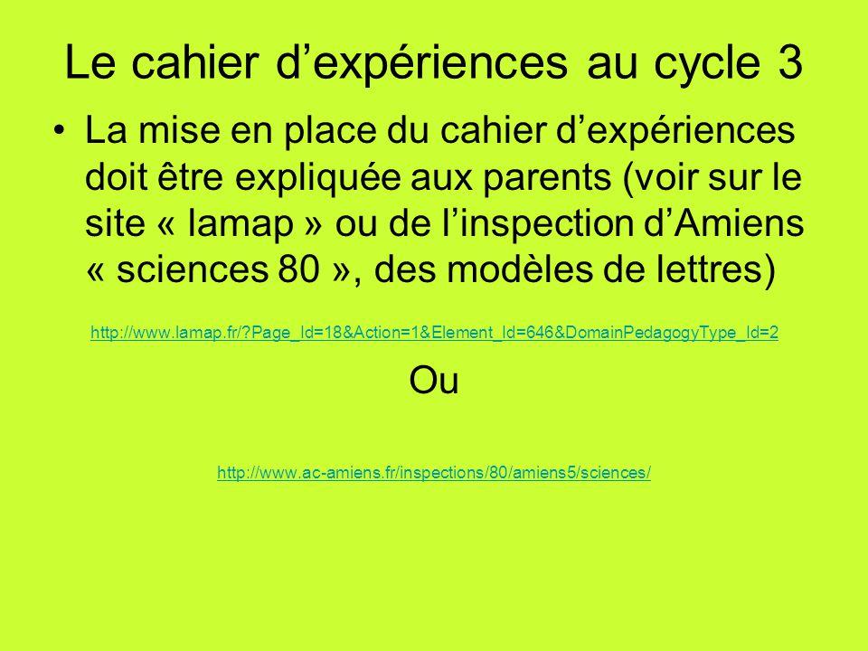 Le cahier d'expériences au cycle 3