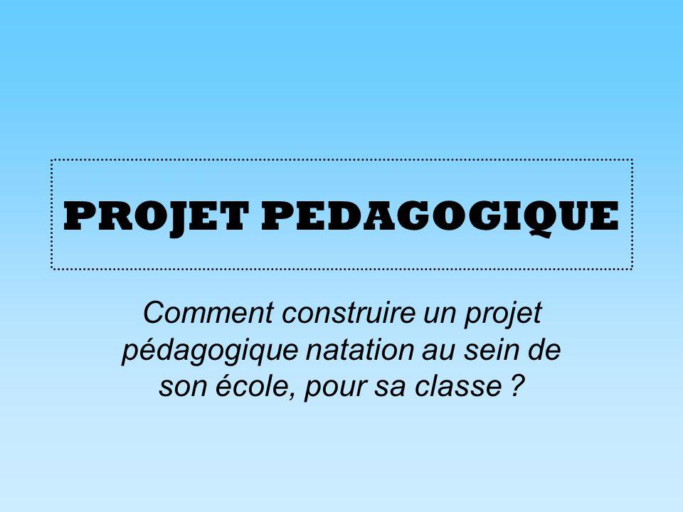 PROJET PEDAGOGIQUE Comment construire un projet pédagogique natation au sein de son école, pour sa classe