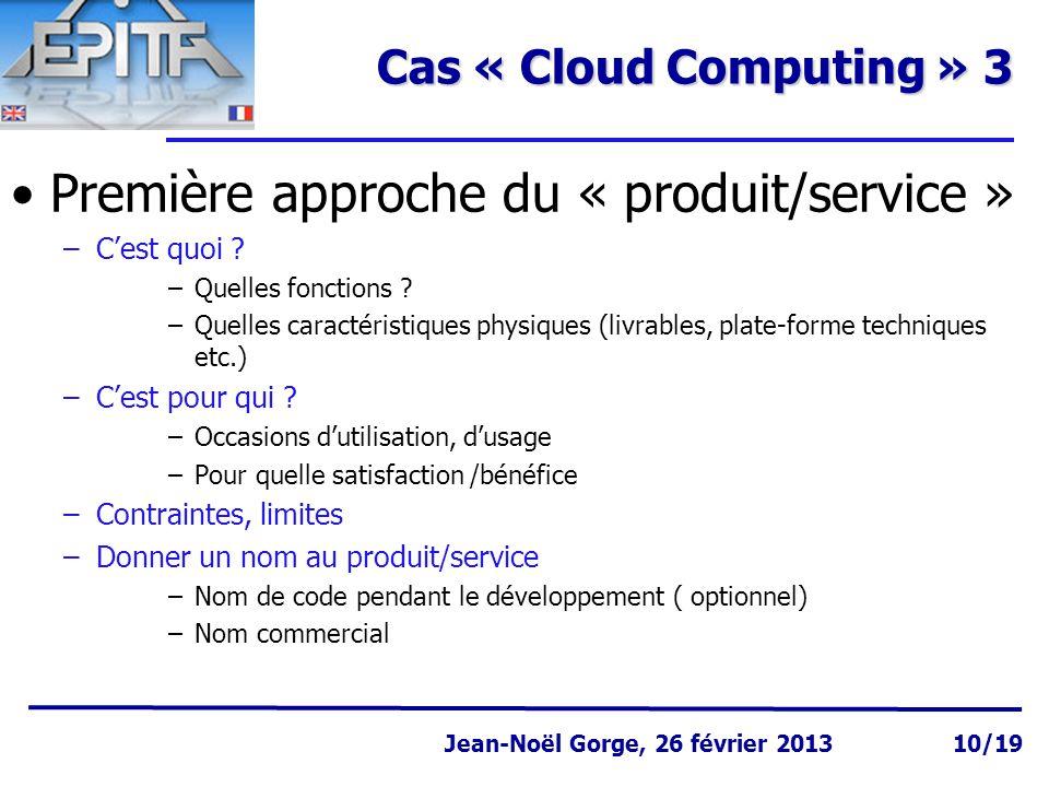Première approche du « produit/service »