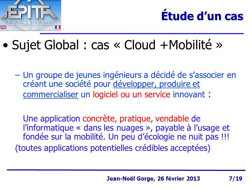 Sujet Global : cas « Cloud +Mobilité »