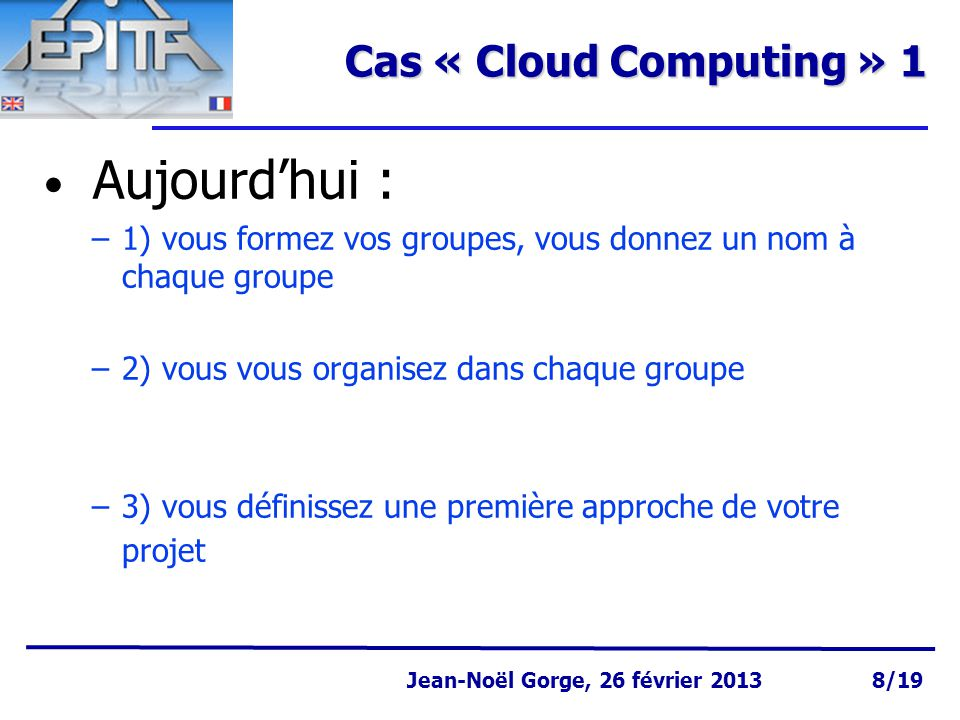 Cas « Cloud Computing » 1 Aujourd'hui :