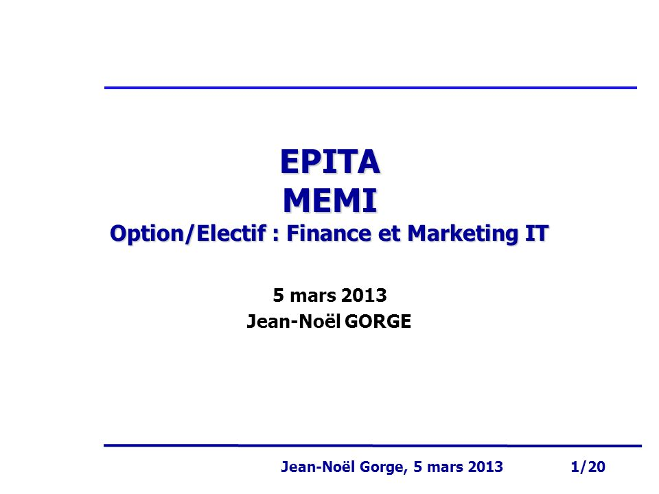 EPITA MEMI Option/Electif : Finance et Marketing IT