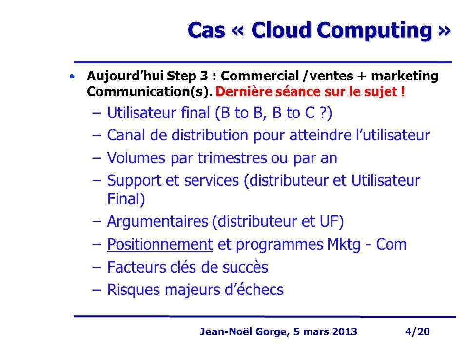 Cas « Cloud Computing » Utilisateur final (B to B, B to C )