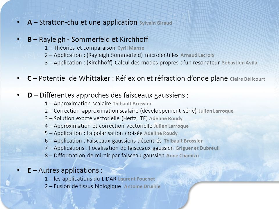 A – Stratton-chu et une application Sylvain Giraud