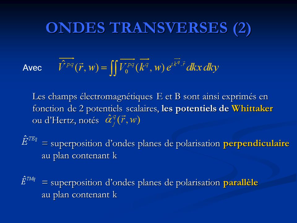 ONDES TRANSVERSES (2) Avec.