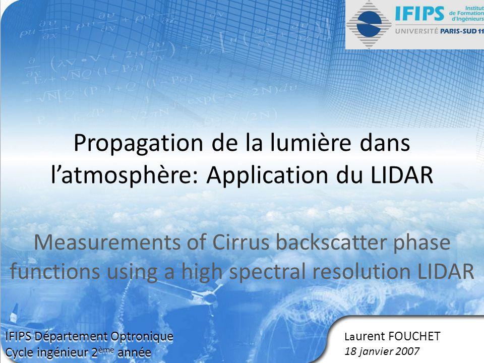 Propagation de la lumière dans l'atmosphère: Application du LIDAR