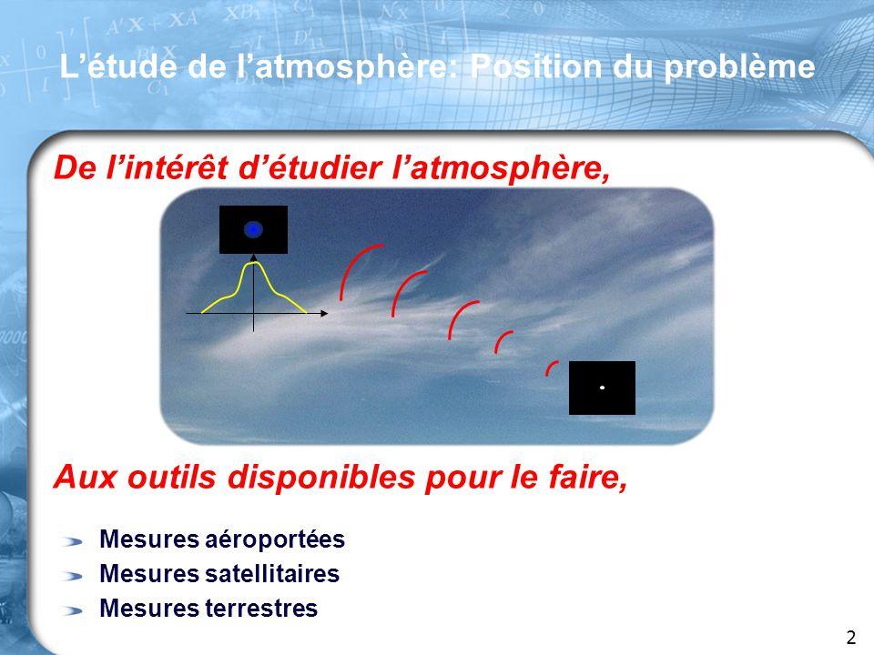 L'étude de l'atmosphère: Position du problème