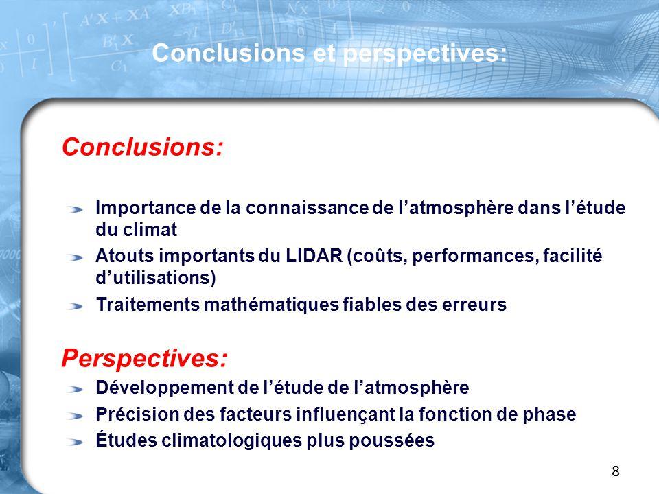 Conclusions et perspectives: