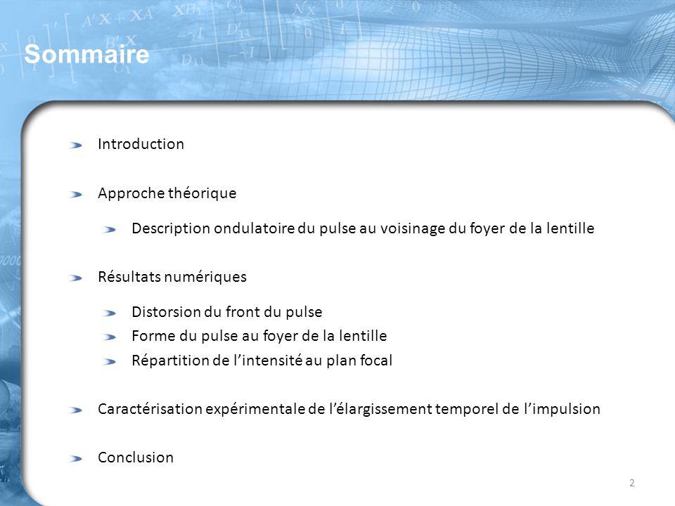 Sommaire Introduction Approche théorique