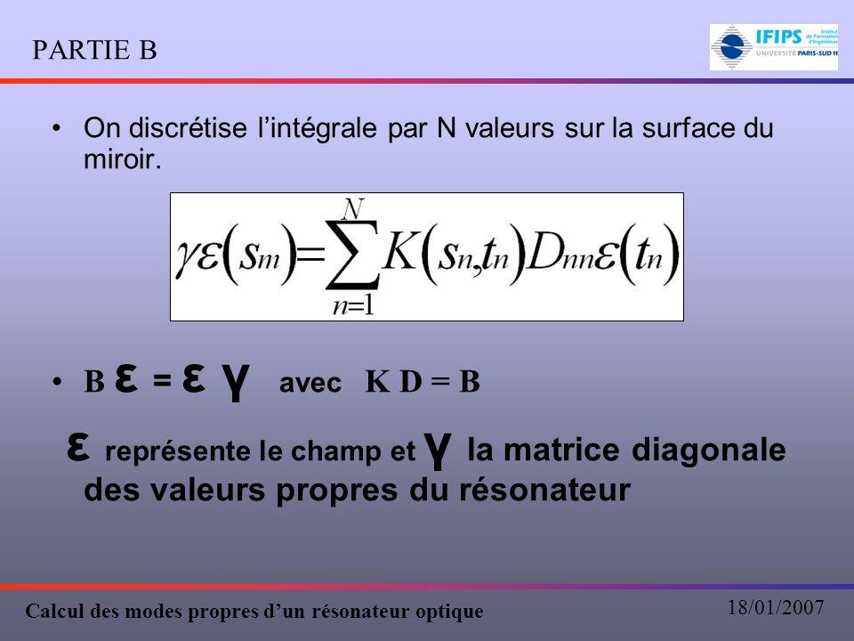 PARTIE B On discrétise l'intégrale par N valeurs sur la surface du miroir. B ε = ε γ avec K D = B.