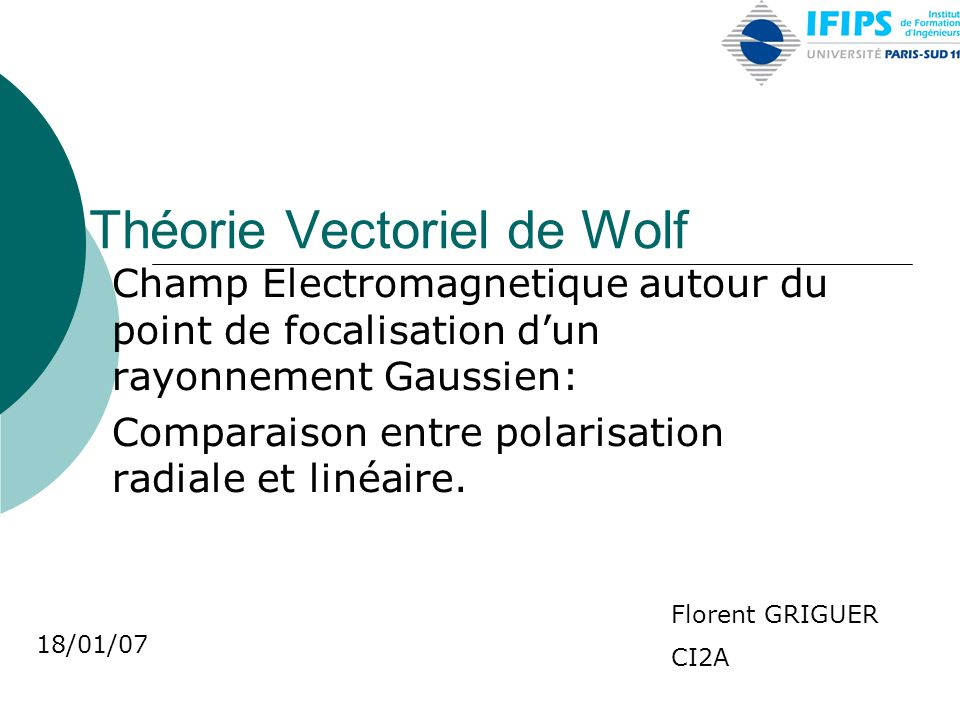 Théorie Vectoriel de Wolf