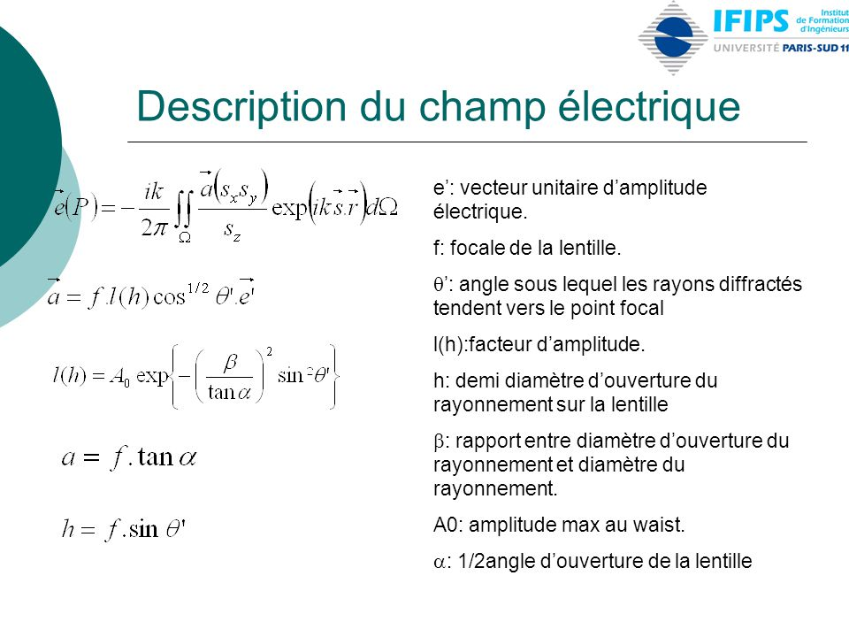 Description du champ électrique