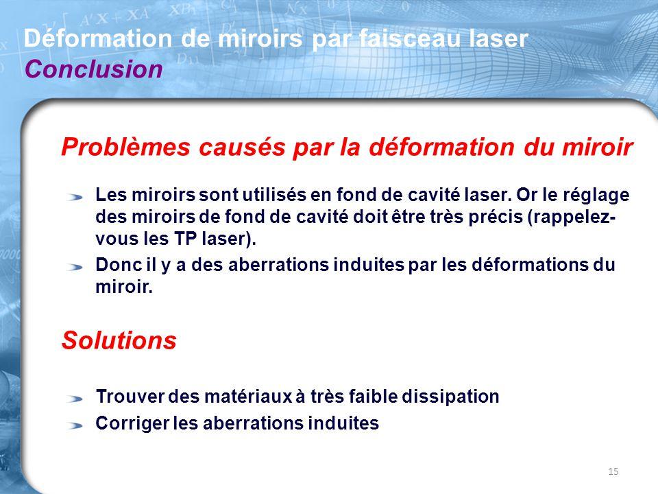 Déformation de miroirs par faisceau laser Conclusion