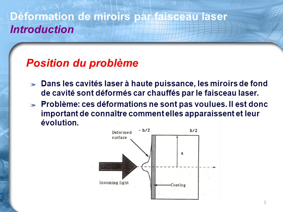 Déformation de miroirs par faisceau laser Introduction