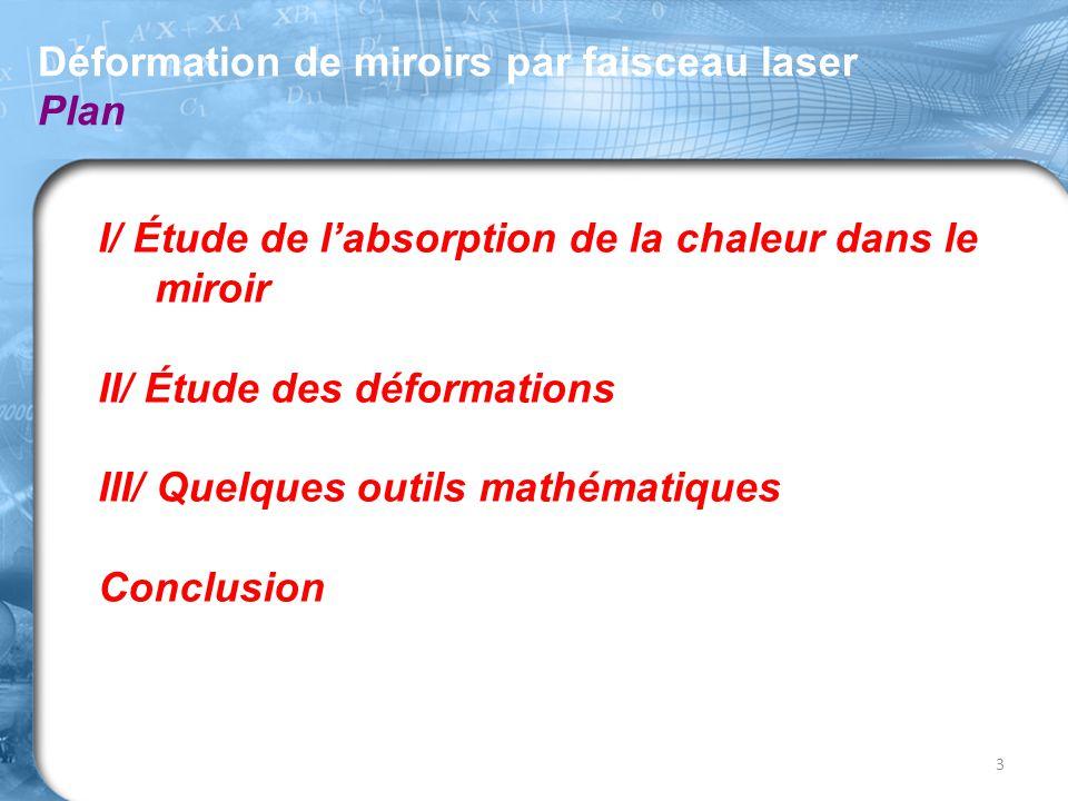 Déformation de miroirs par faisceau laser Plan