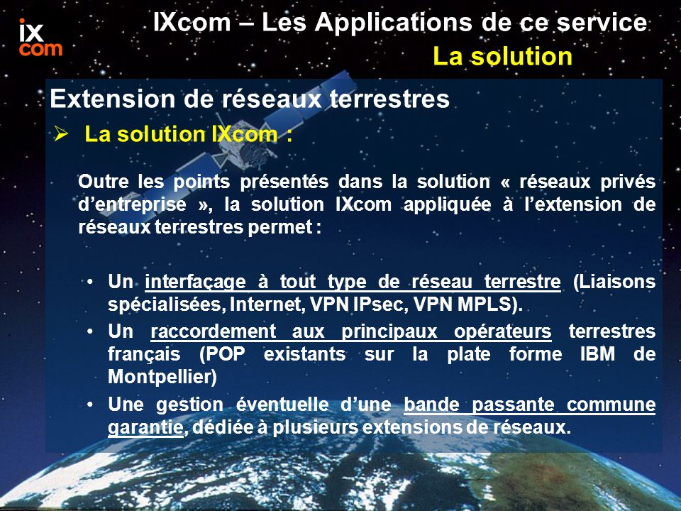IXcom – Les Applications de ce service La solution