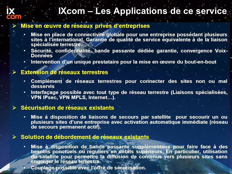 IXcom – Les Applications de ce service