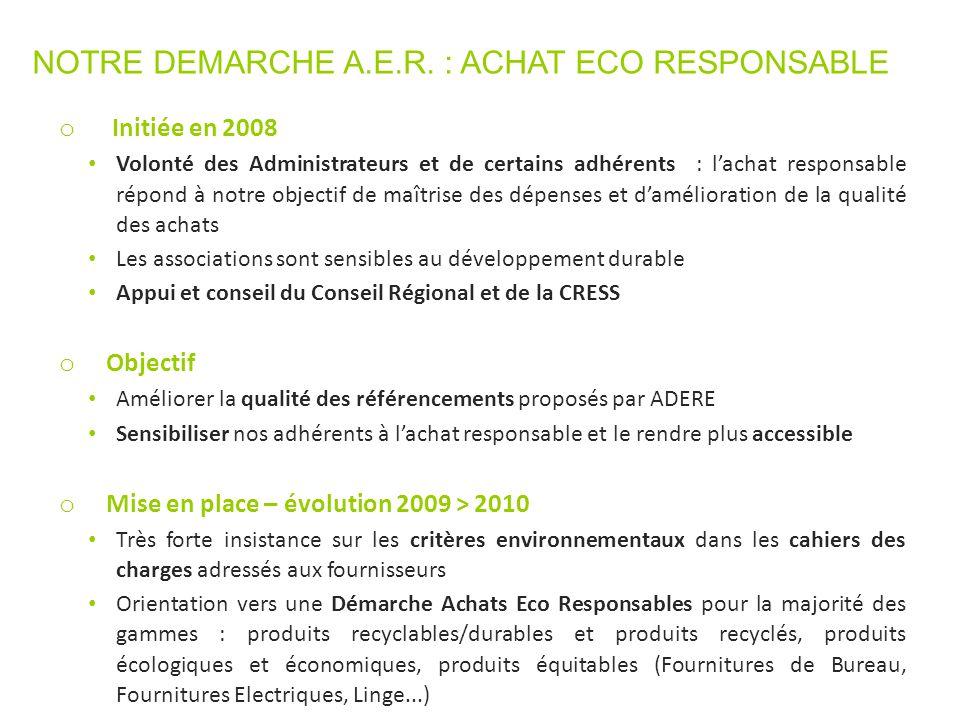 NOTRE DEMARCHE A.E.R. : ACHAT ECO RESPONSABLE