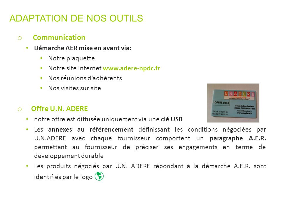 ADAPTATION DE NOS OUTILS