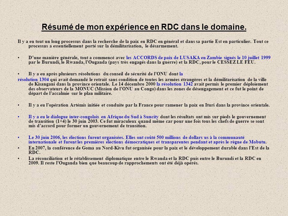 Résumé de mon expérience en RDC dans le domaine.
