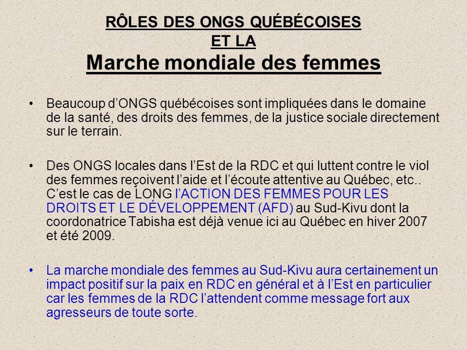 RÔLES DES ONGS QUÉBÉCOISES ET LA Marche mondiale des femmes
