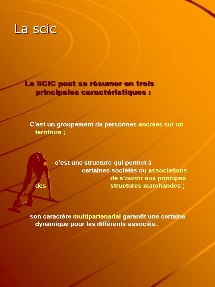 La scic La SCIC peut se résumer en trois principales caractéristiques : C'est un groupement de personnes ancrées sur un territoire ;