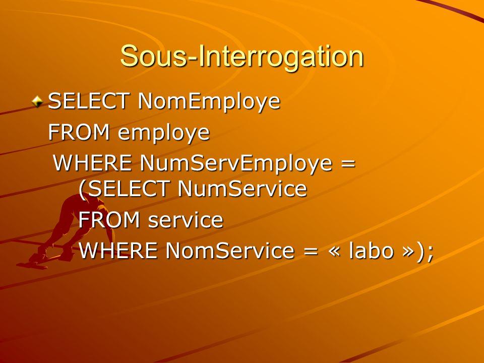 Sous-Interrogation SELECT NomEmploye FROM employe