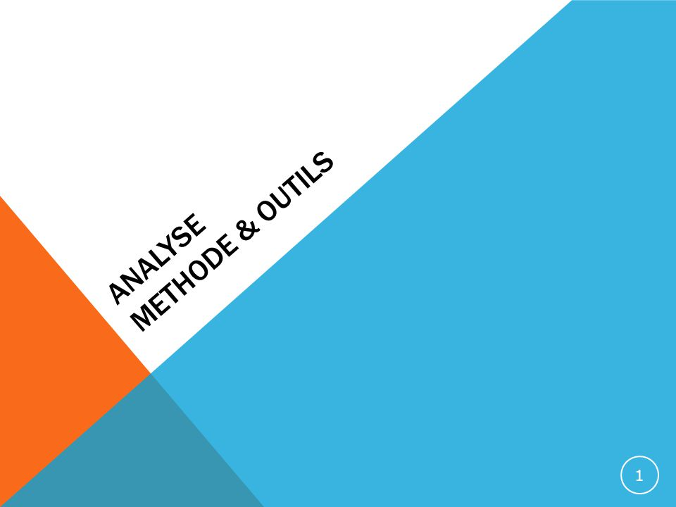 ANALYSE METHODE & OUTILS