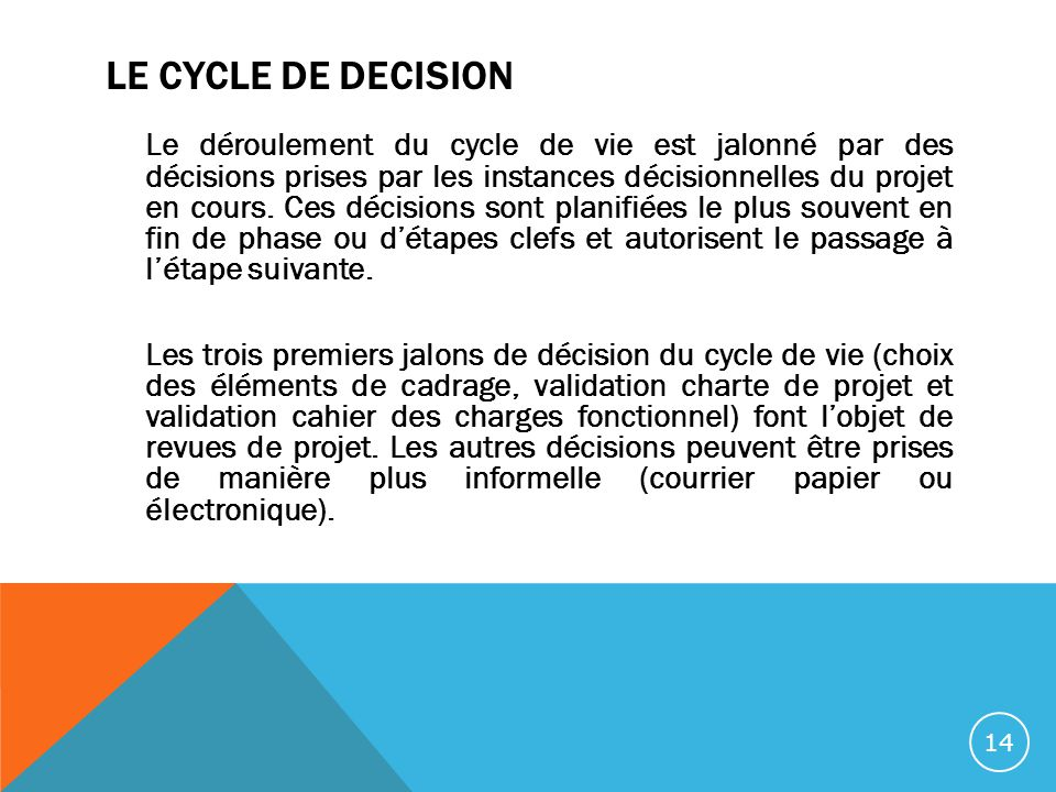 LE CYCLE DE DECISION