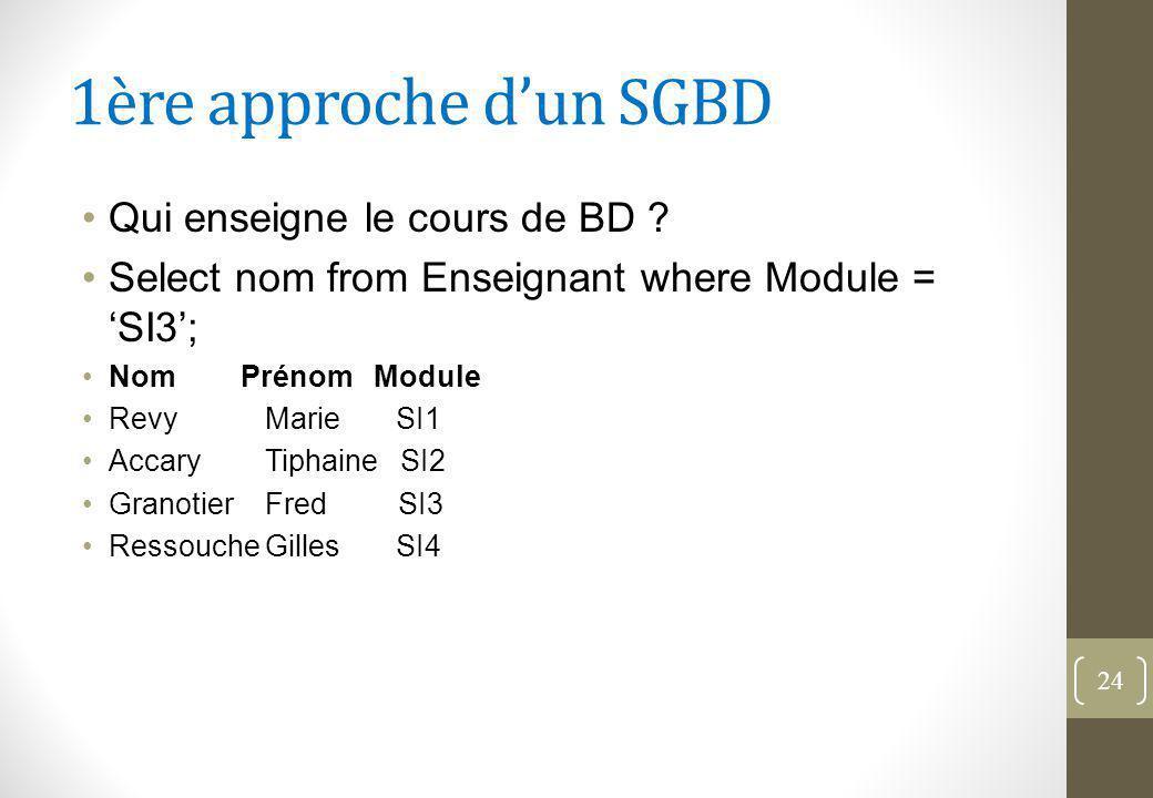 1ère approche d'un SGBD Qui enseigne le cours de BD