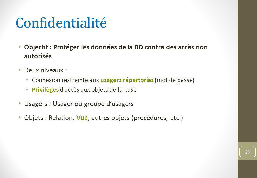 Confidentialité Objectif : Protéger les données de la BD contre des accès non autorisés. Deux niveaux :