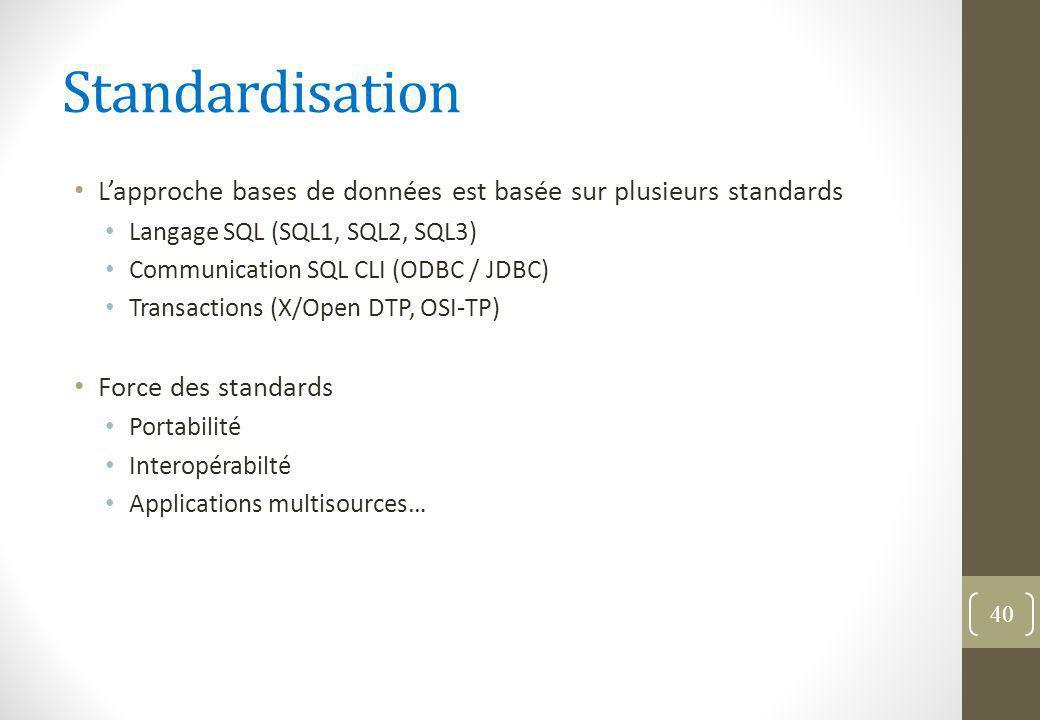 Standardisation L'approche bases de données est basée sur plusieurs standards. Langage SQL (SQL1, SQL2, SQL3)