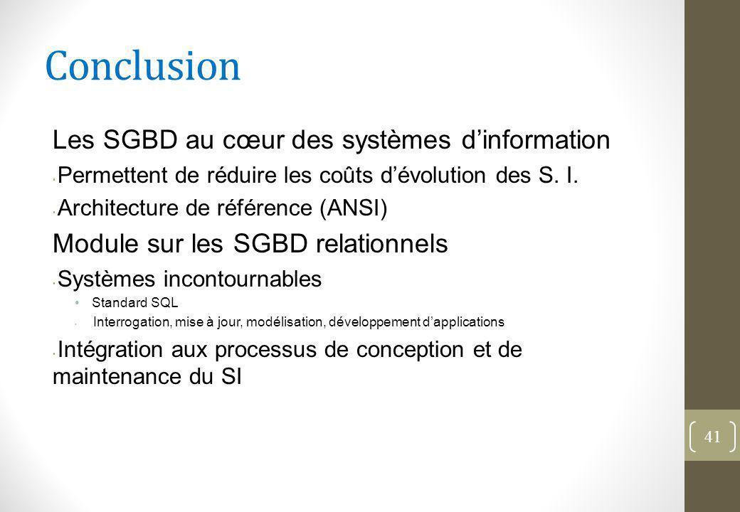 Conclusion Les SGBD au cœur des systèmes d'information