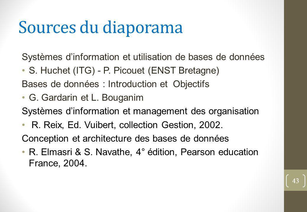 Sources du diaporama Systèmes d'information et utilisation de bases de données. S. Huchet (ITG) - P. Picouet (ENST Bretagne)