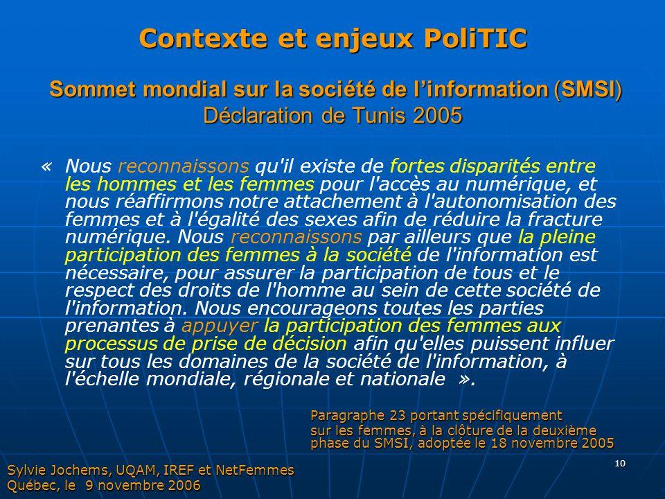 Contexte et enjeux PoliTIC Sommet mondial sur la société de l'information (SMSI) Déclaration de Tunis 2005