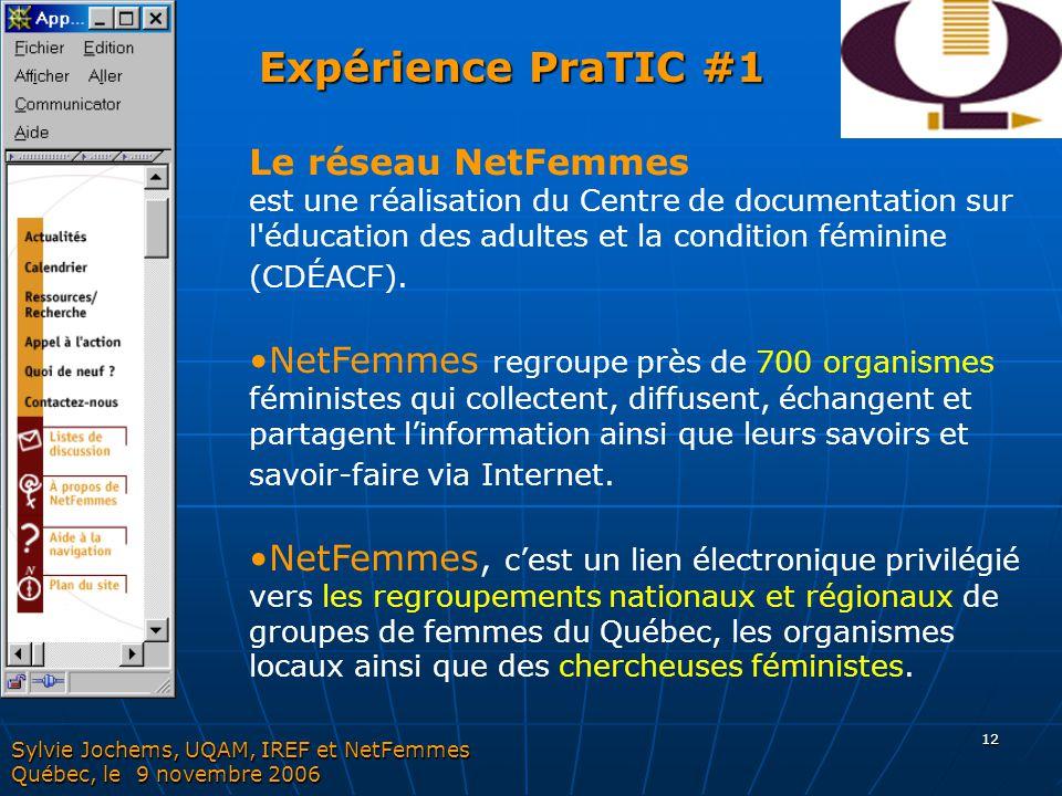 Expérience PraTIC #1 Le réseau NetFemmes