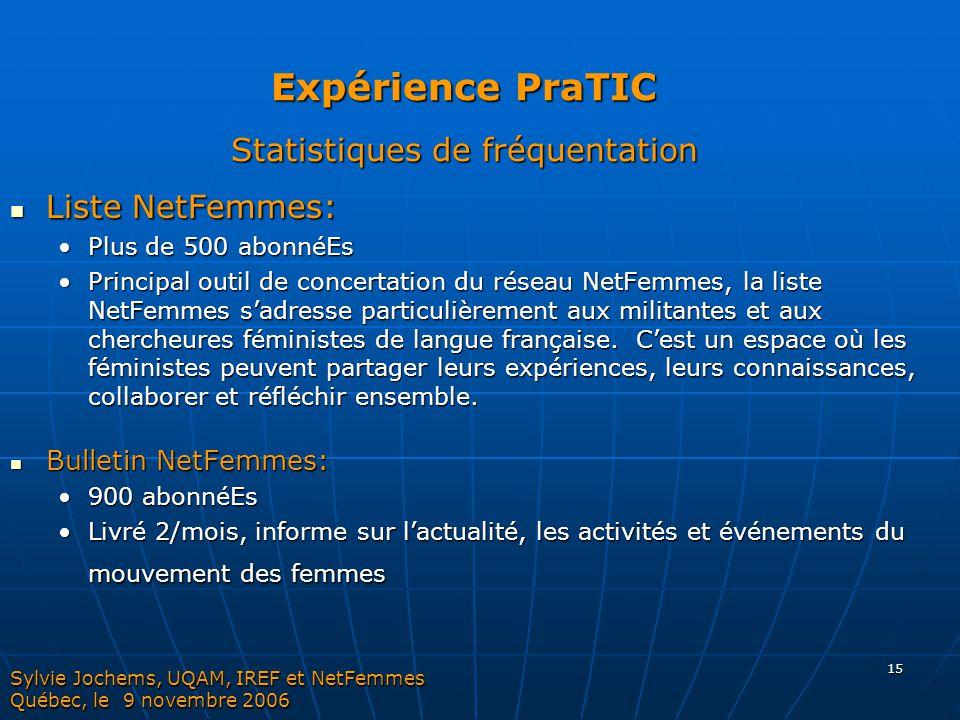 Expérience PraTIC Statistiques de fréquentation