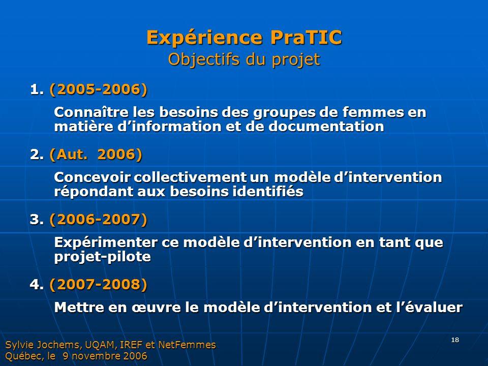 Expérience PraTIC Objectifs du projet